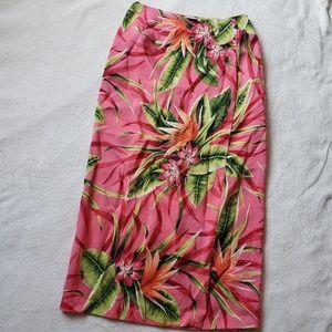 Worthington tropical floral silk skirt AA